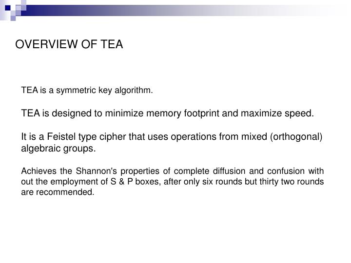 OVERVIEW OF TEA