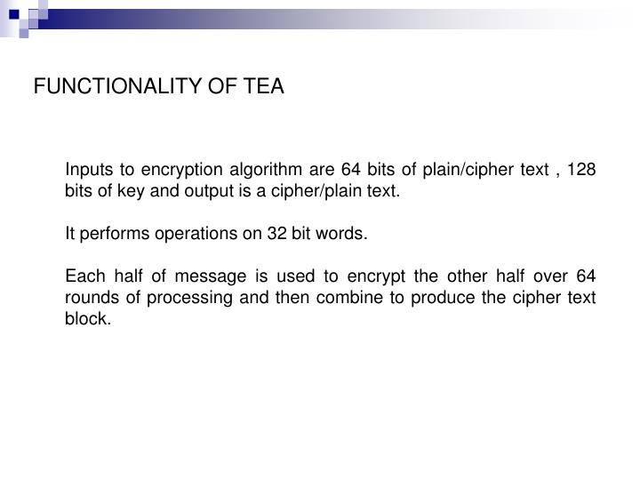 FUNCTIONALITY OF TEA