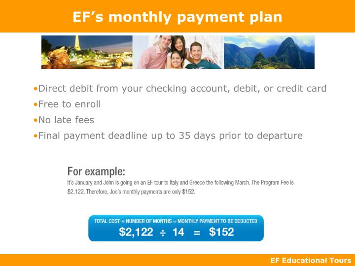 EF's monthly payment plan