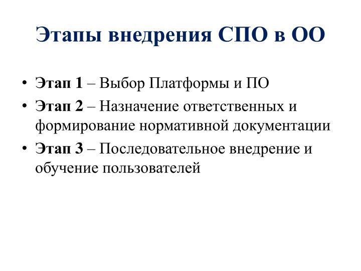 Этапы внедрения СПО в ОО