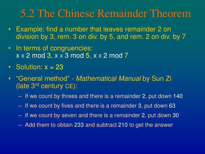 5.2 The Chinese Remainder Theorem