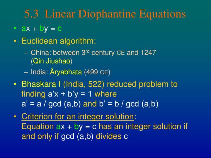 5.3  Linear Diophantine Equations