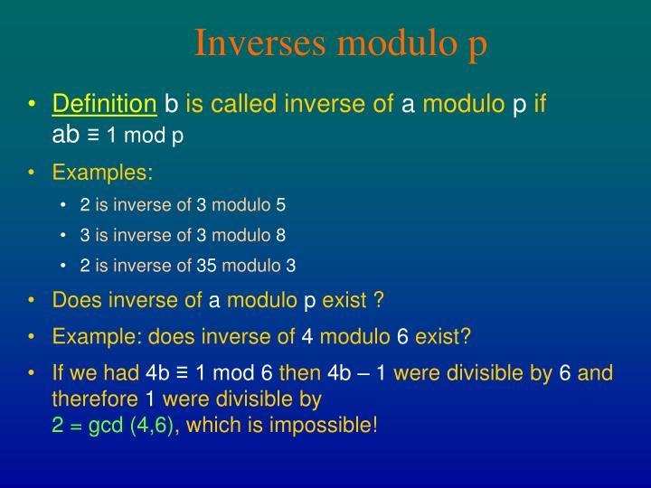 Inverses modulo p
