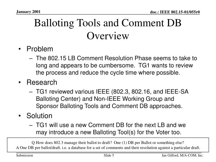 Balloting Tools and Comment DB
