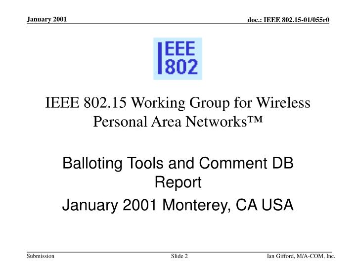 Ieee 802 15 working group for wireless personal area networks