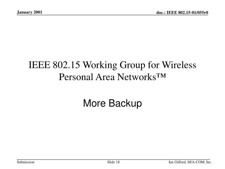 IEEE 802.15 Working Group for Wireless Personal Area Networks