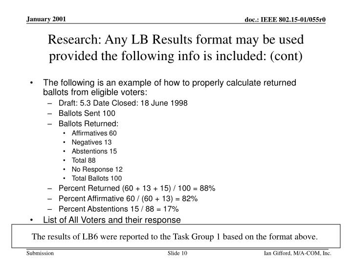 Research: Any LB Results format may be used provided the following info is included: (cont)