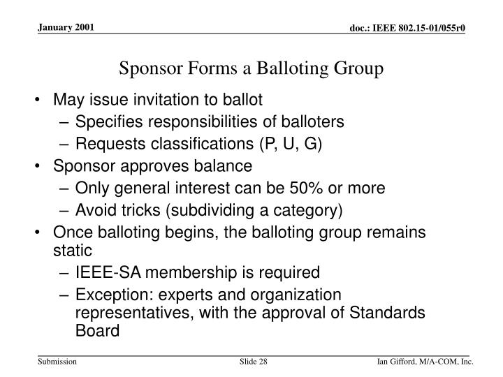 Sponsor Forms a Balloting Group