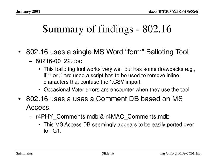 Summary of findings - 802.16