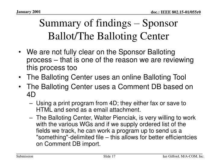 Summary of findings – Sponsor Ballot/The Balloting Center