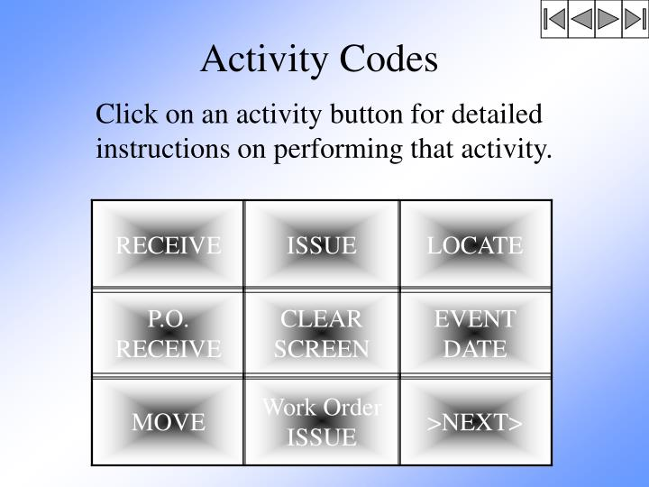 Activity Codes