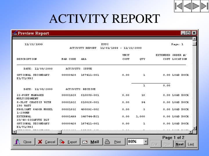 ACTIVITY REPORT