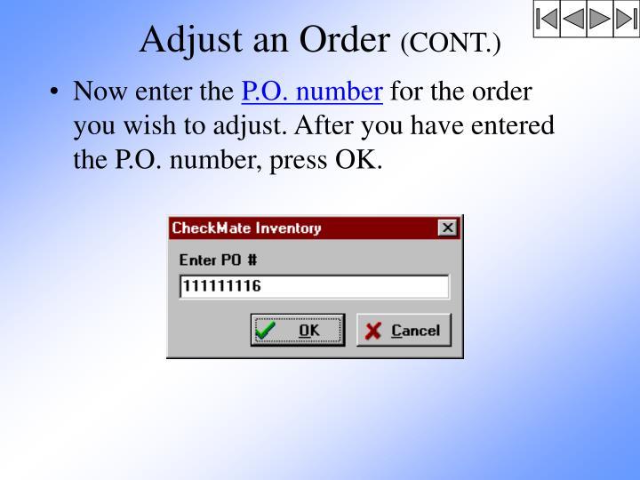 Adjust an Order