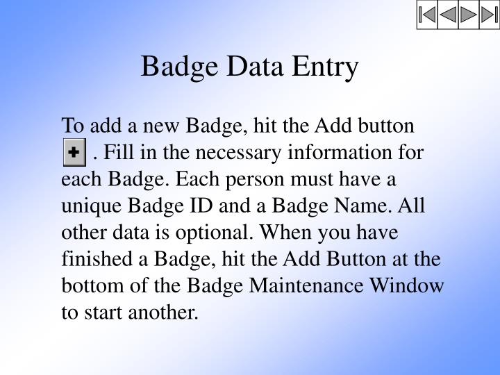 Badge Data Entry
