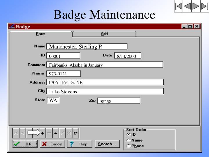 Badge Maintenance