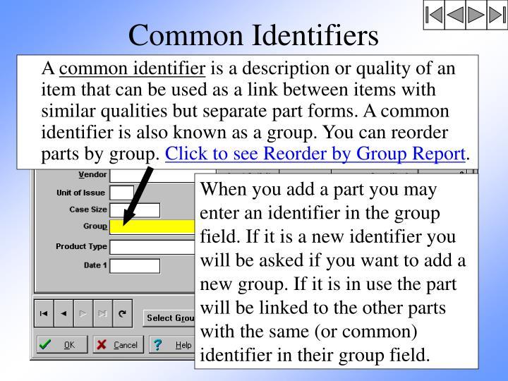 Common Identifiers