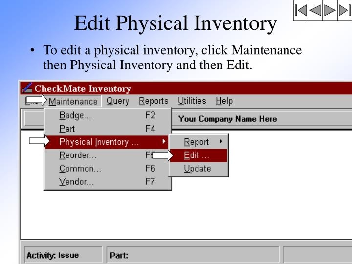 Edit Physical Inventory