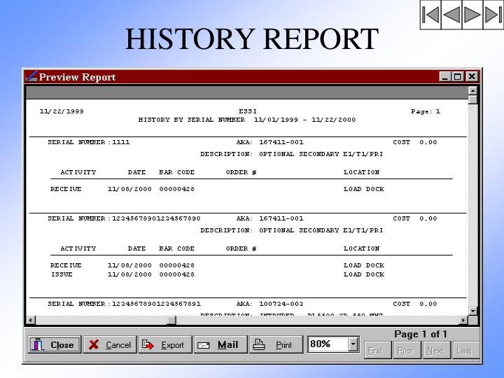 HISTORY REPORT