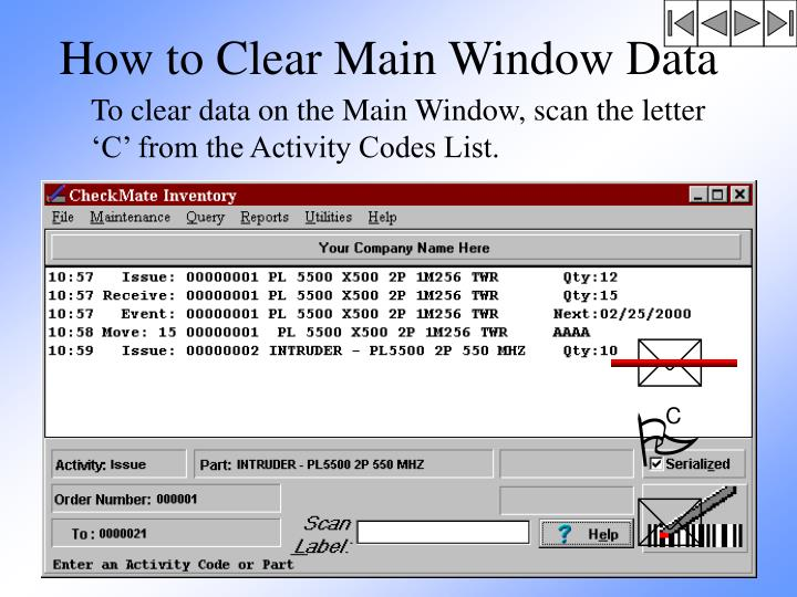 How to Clear Main Window Data