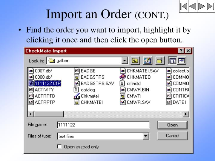 Import an Order