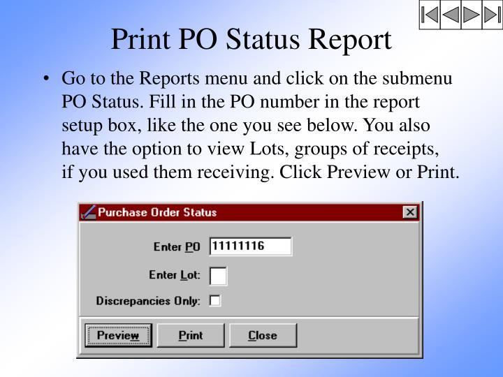 Print PO Status Report