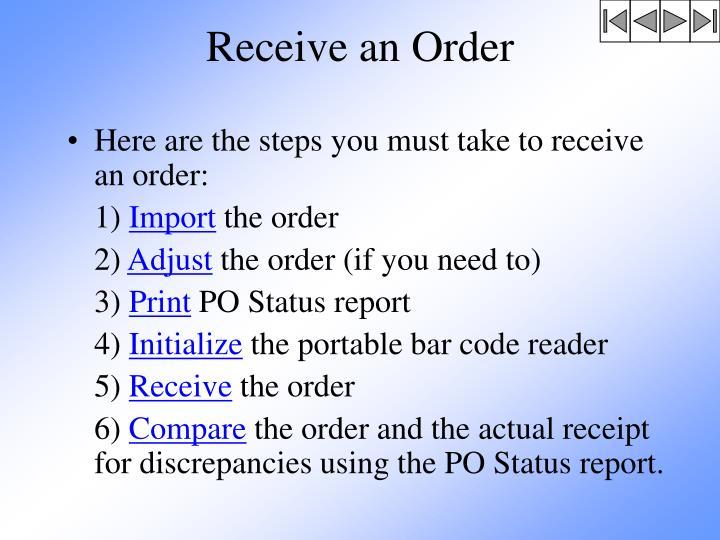 Receive an Order