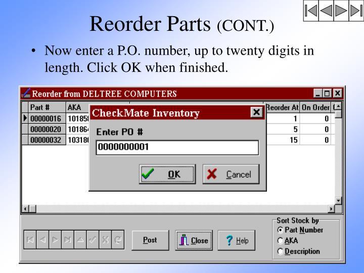 Reorder Parts