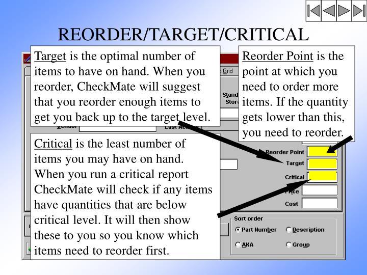 REORDER/TARGET/CRITICAL