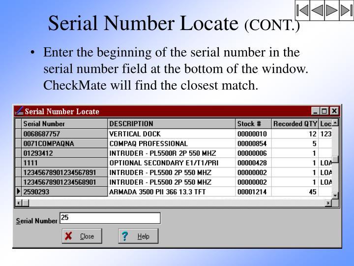 Serial Number Locate
