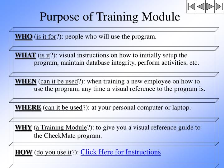 Purpose of Training Module