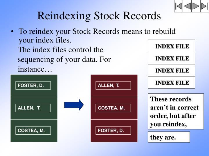 Reindexing Stock Records