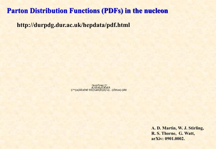 Parton Distribution Functions (PDFs) in the nucleon