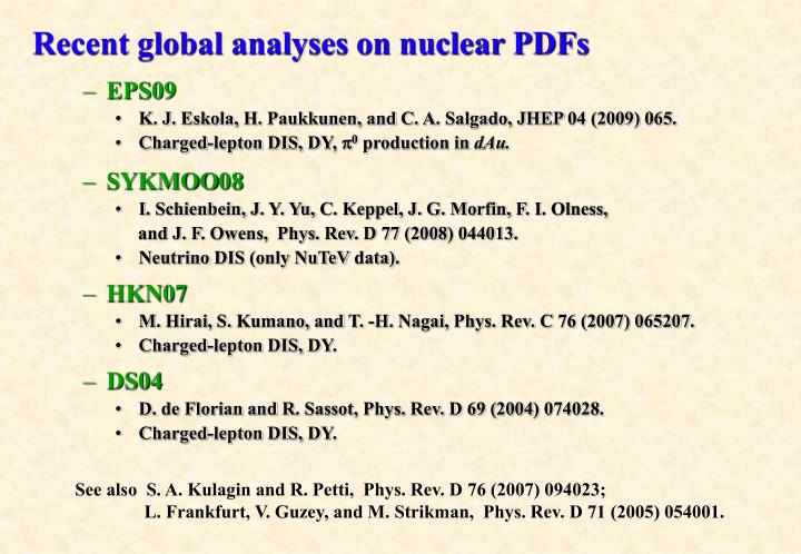 Recent global analyses on nuclear PDFs