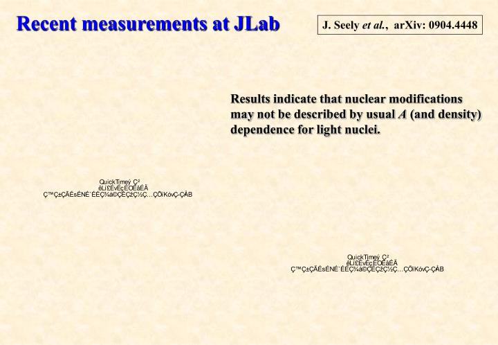 Recent measurements at JLab