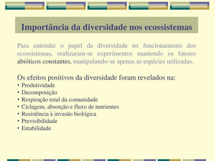Importância da diversidade nos ecossistemas