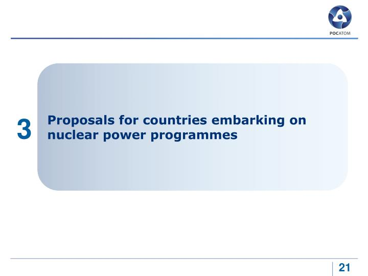 Proposals for countries embarking on nuclear power programmes