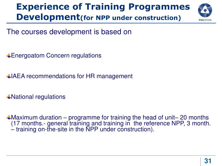 Experience of Training Programmes Development