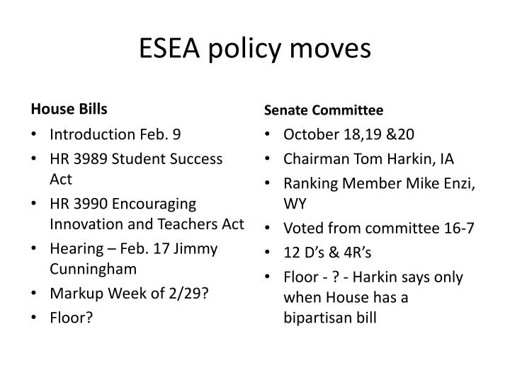 ESEA policy moves
