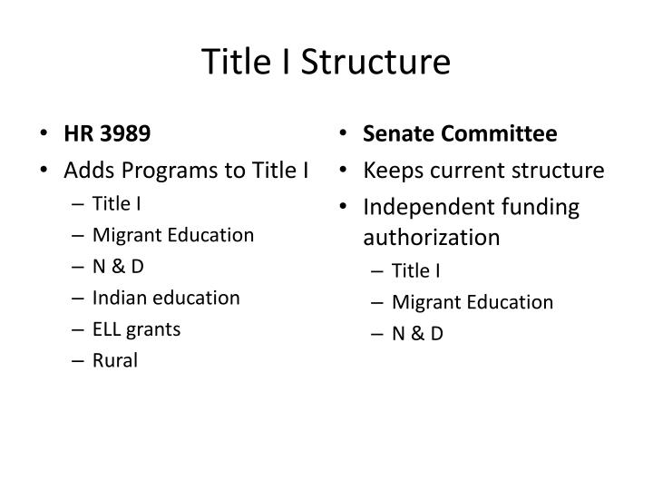 Title I Structure