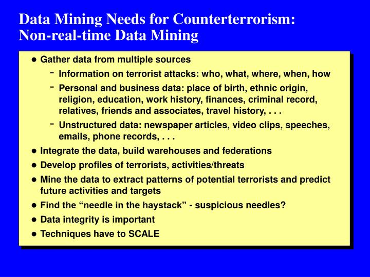 Data Mining Needs for Counterterrorism: