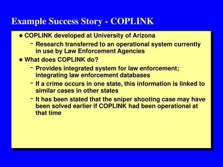 Example Success Story - COPLINK