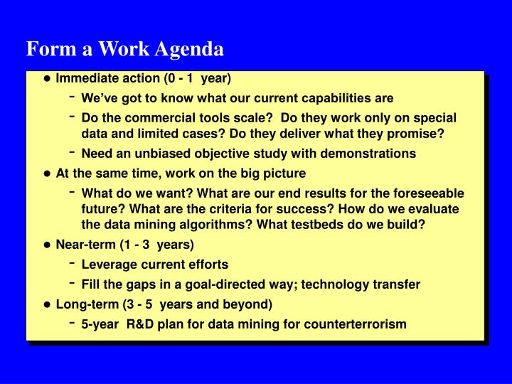 Form a Work Agenda