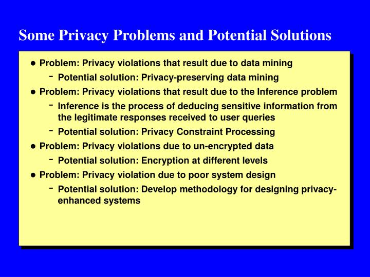 Some Privacy Problems and Potential Solutions