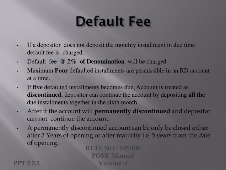 Default Fee