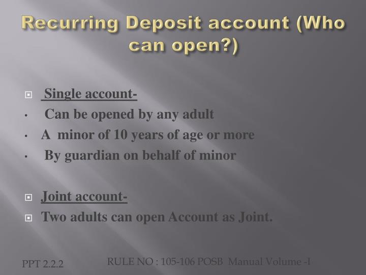 Recurring deposit account who can open