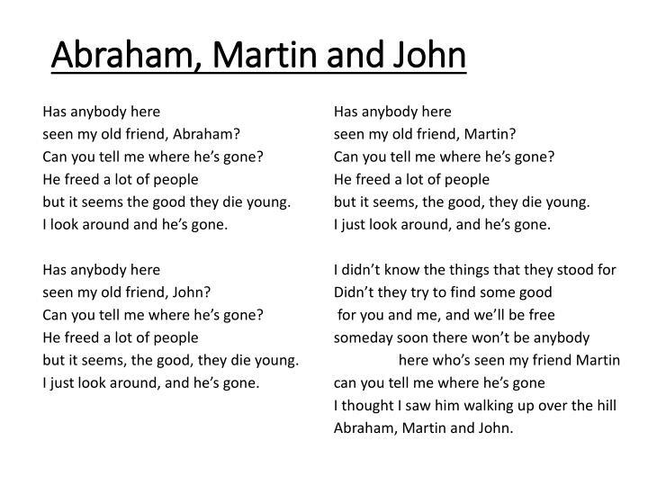 Abraham, Martin and