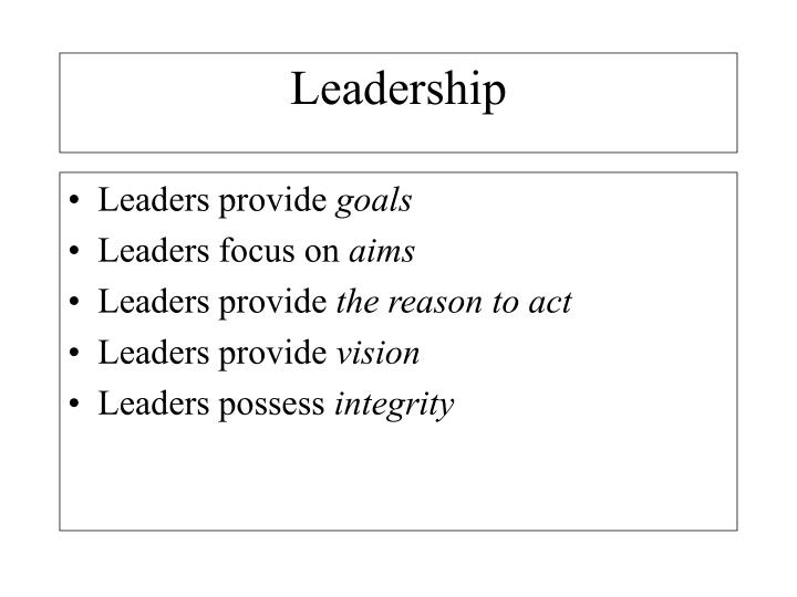 Leaders provide