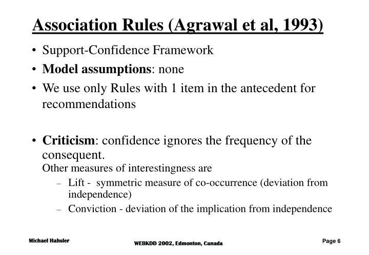Association Rules (Agrawal et al, 1993)