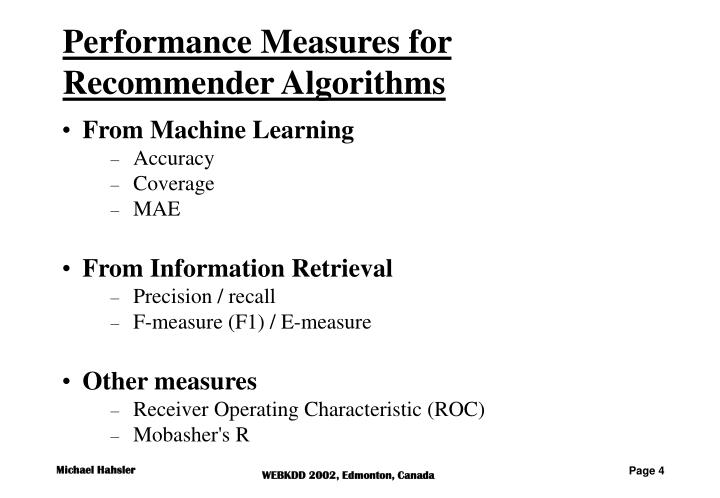 Performance Measures for Recommender Algorithms