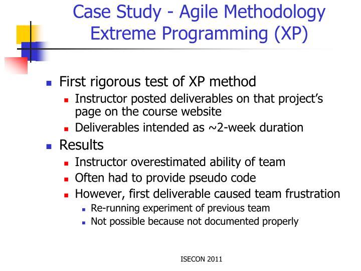 Case Study - Agile Methodology Extreme Programming (XP)